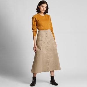 Uniqlo Chino Button Front Long Skirt Beige NWT 2